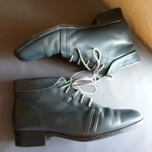 Dark Forest Green Leather Vintage Lace Booties